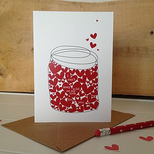 Jar Of Hearts Wedding, Anniversary And Valentines Card - anniversary cards