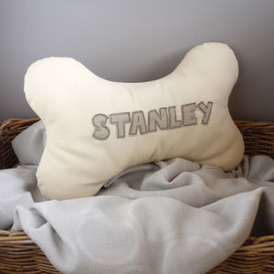 Personalised Dog Bone Cushion - home