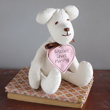 handmade mother's day bear, pink heart