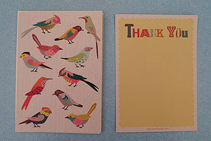 12 Personalised Bird Thank You Cards