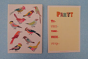 12 Personalised Bird Party Invitations