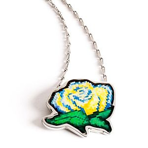 Pixel Rose Chain Necklace - black friday sale