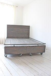Reclaimed Wood Bed With Storage Drawers