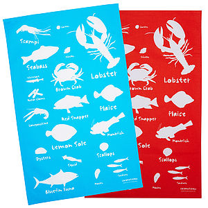 Seafood Kitchen Tea Towel