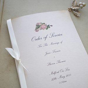 Order Of Service Vintage Rose