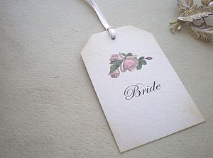 Personalised Vintage Rose Place Card Tags - wedding stationery
