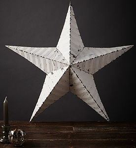 29' White Amish Tin Star - hanging decorations