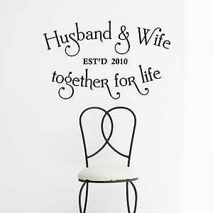 Personalised Husband And Wife Wall Sticker - home accessories