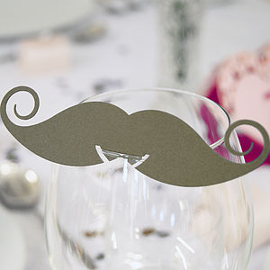 Pack Of 10 Moustache Glass Name Place Cards - weddings sale