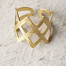 Gold Criss Cross Ring By Lime Lace Notonthehighstreet Com