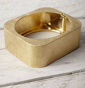 Gold Square Cuff - yellow gold jewellery