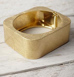 Gold Square Cuff - yellow gold jewellery