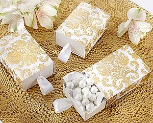 Gold Damask Favour Boxes