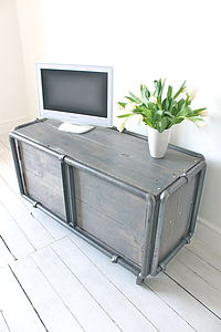 Demis Reclaimed Grey Painted Media Unit On Castors - furniture