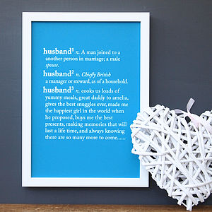 Personalised Husband Dictionary Print - gifts for him
