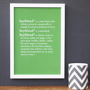 Personalised Boyfriend Dictionary Print - gifts under £25 for him