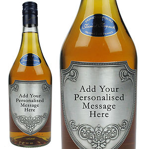 Brandy With Engraved Pewter Plaque - gifts to eat & drink