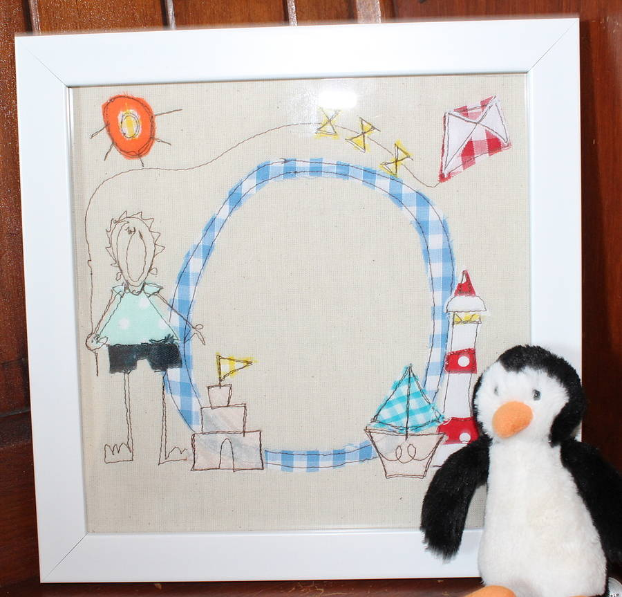 Boys Framed Embroidered Initial Picture