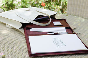 A4 Leather Zipped Writing Case - stationery gifts