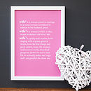 Personalised Wife Dictionary Print