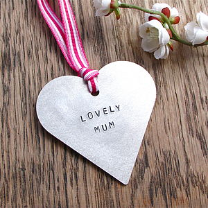 'Lovely Mum' Hanging Metal Heart Decoration - hanging decorations