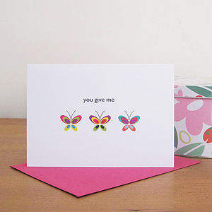 'You Give Me Butterflies' Card - wedding gifts & cards sale