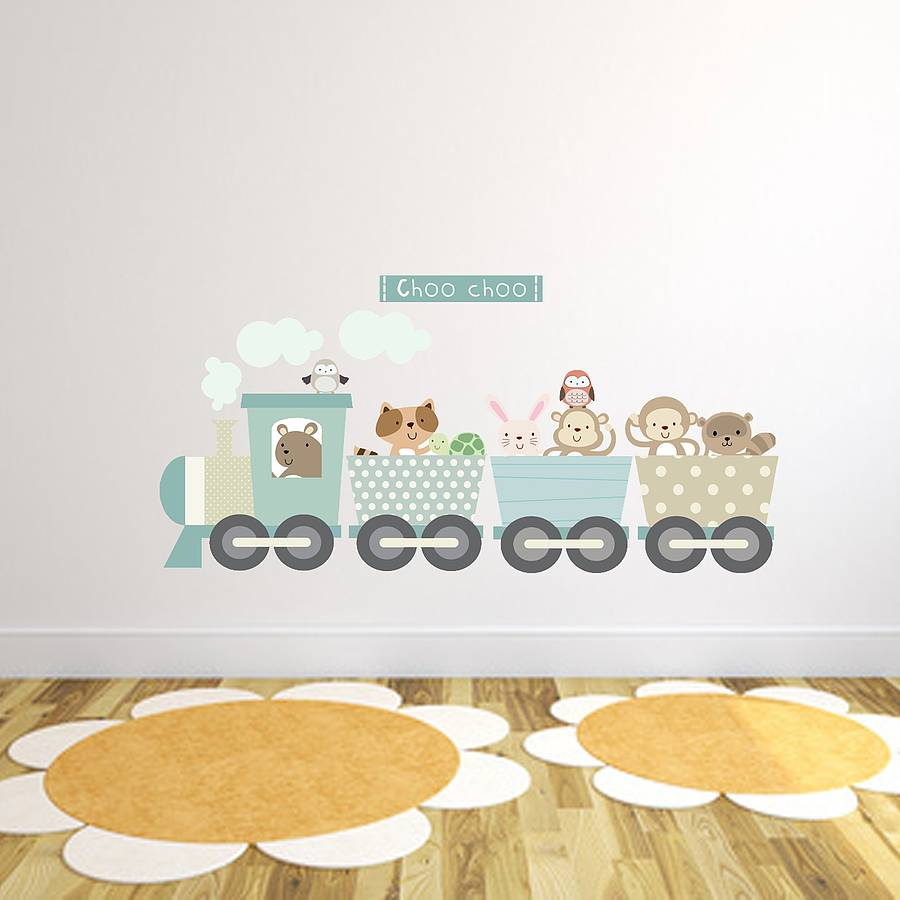Great Animal Train Fabric Wall Sticker Part 21