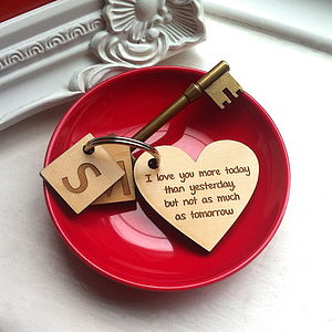Personalised Love Heart Keyring - love tokens for her
