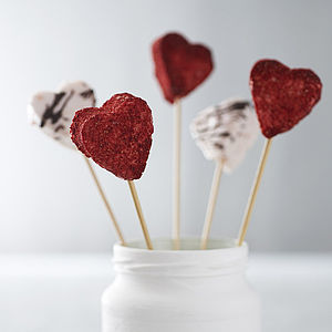 Champagne And Strawberries Valentine's Hearts - edible favours