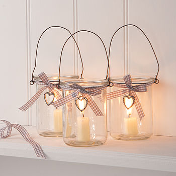 Glass Jar Votive Candle Lantern With Heart