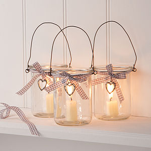 Glass Jar Votive Candle Lantern With Heart - votives & tea light holders