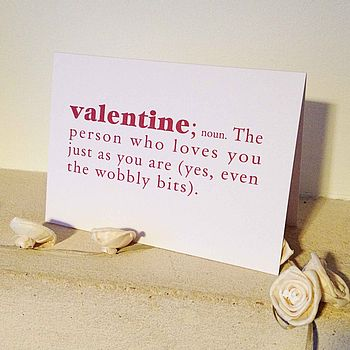 Wobbly Bits Dictionary Definition Valentine's Day Card