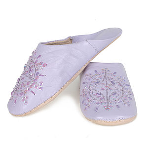 Moroccan Leather Babouche Slippers, Pastels - women's fashion