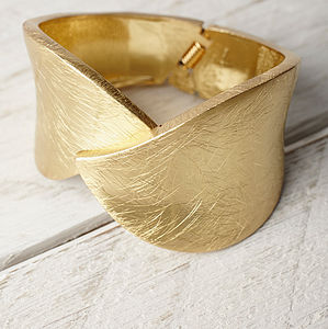 Gold Cross Over Cuff Bracelet