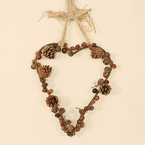Woodland Heart Wreath - outdoor decorations