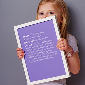 Personalised Mum / Mummy Dictionary Print - gifts for the home
