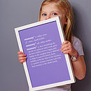 Personalised Mum / Mummy Dictionary Print
