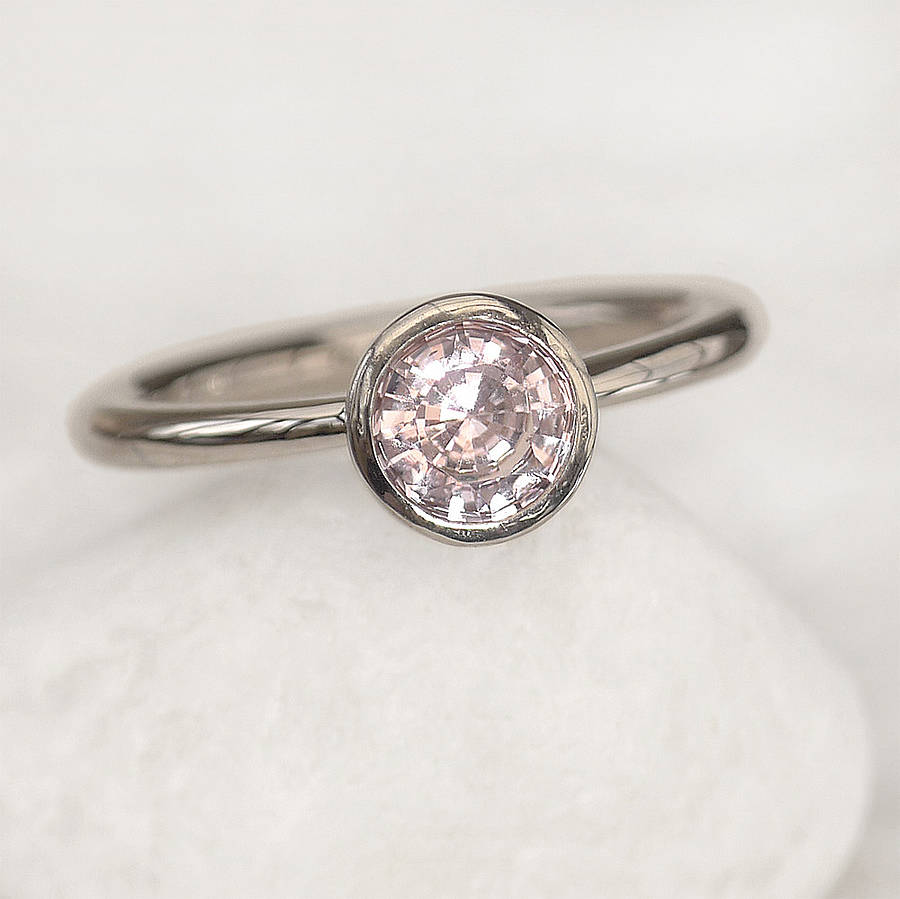 light pink sapphire engagement ring by lilia nash jewellery