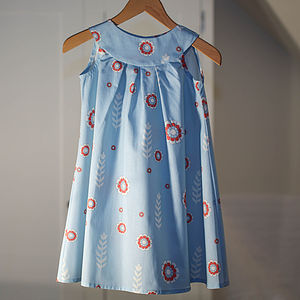 Girl's Dress Woodcut Floral Organic Smock Dress