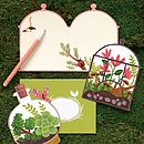 Set Of Ten Terrarium Shaped Notecards