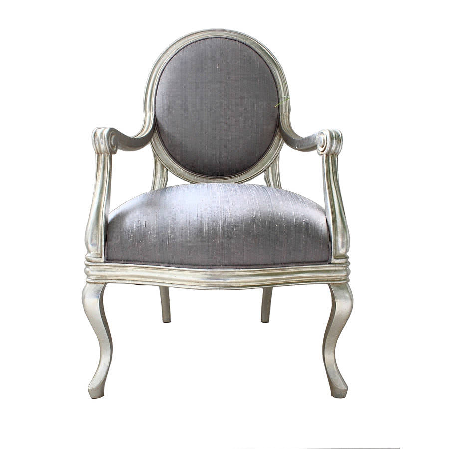 French Silver Armchair Lilac Cover