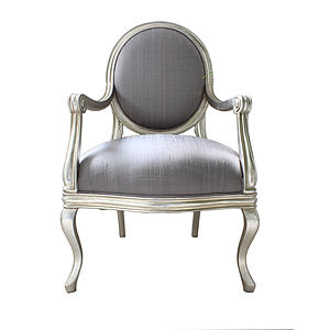 French Silver Armchair Lilac Cover - armchairs