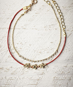 Dainty Red Leather And Star Bracelet
