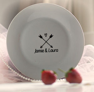 Personalised Arrow And Heart Couples Plate - personalised gifts for couples