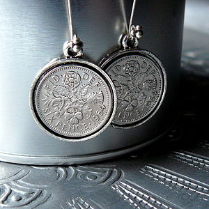 50th Birthday Sixpence Earrings