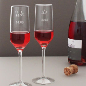 'We Do' Personalised Champagne Flute Set - wedding gifts