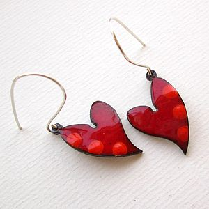 Heart Earrings In Enamel