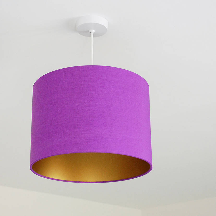 Pick and mix drum lampshade choice of colours by quirk medium violet gold mozeypictures Images