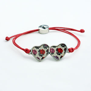 Rose Double Heart Friendship Bracelet - bracelets & bangles