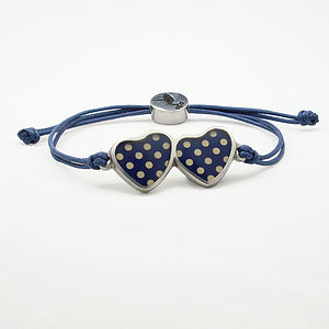 Polka Dot Double Heart Friendship Bracelet - bracelets & bangles